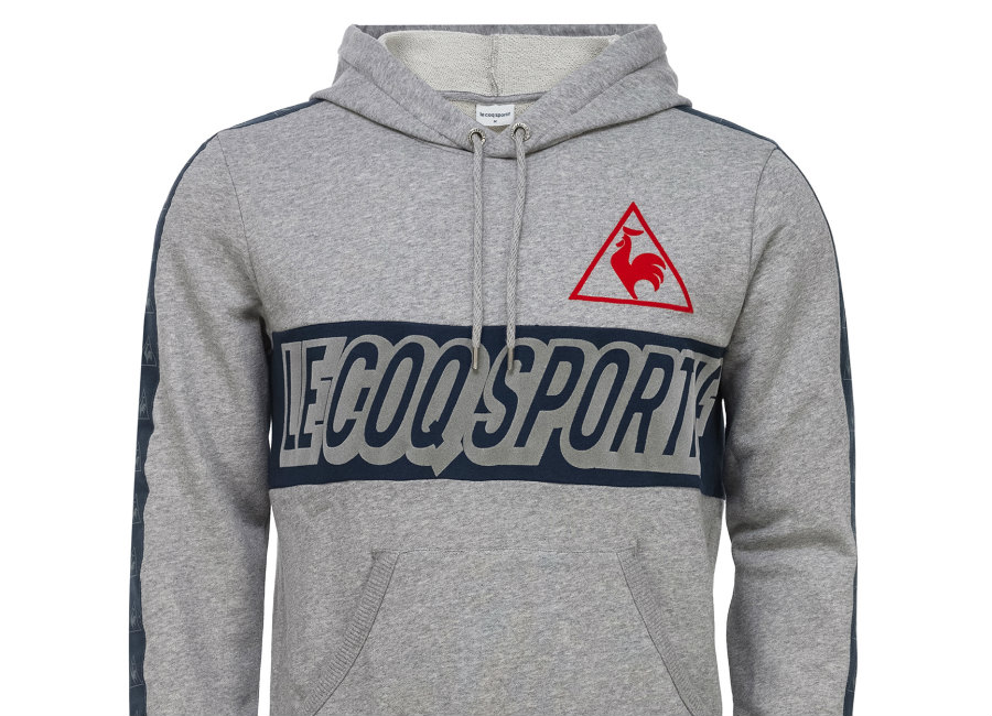 Le Coq Sportif Tricolore Football Pull Over Hood Heather Grey