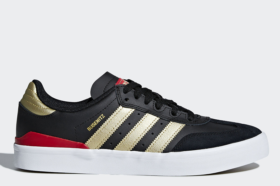 Adidas Busenitz Vulc RX Shoes - Core Black / Gold Metallic / Scarlet