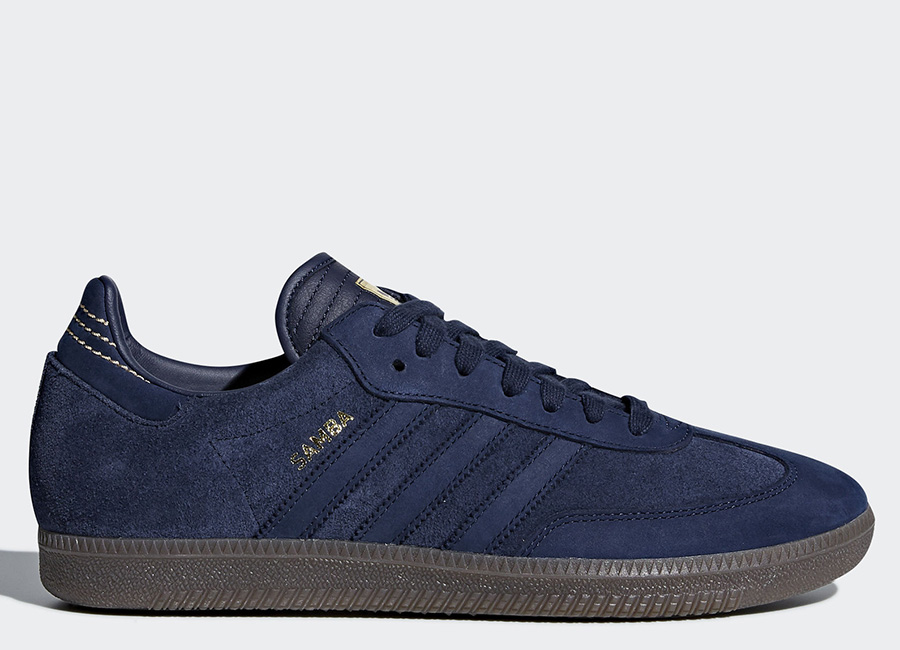 Adidas Samba FB Shoes - Dark Blue / Dark Blue / Gold Metallic