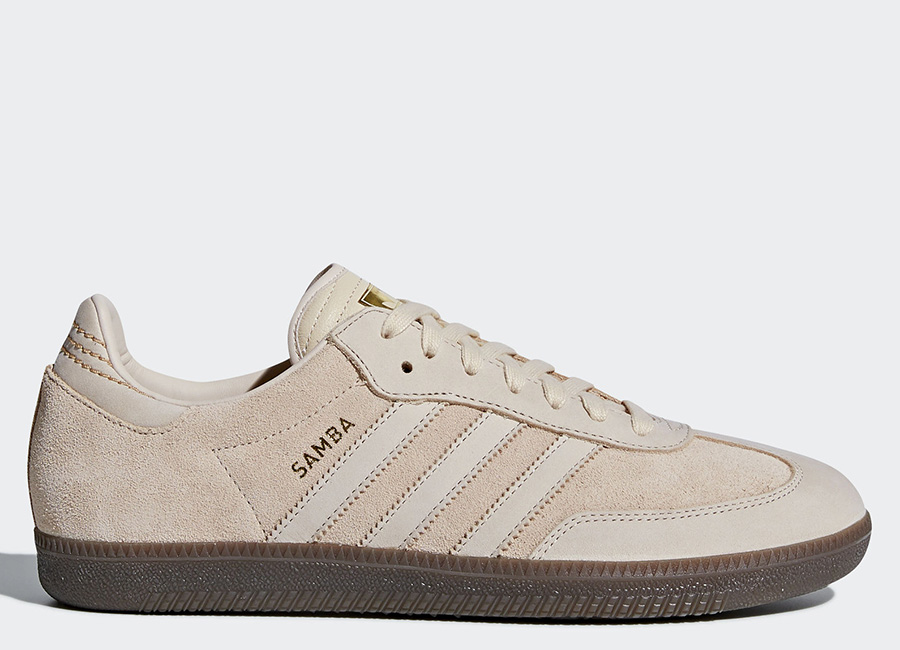 Adidas Samba FB Shoes - Linen / Linen / Gold Metallic