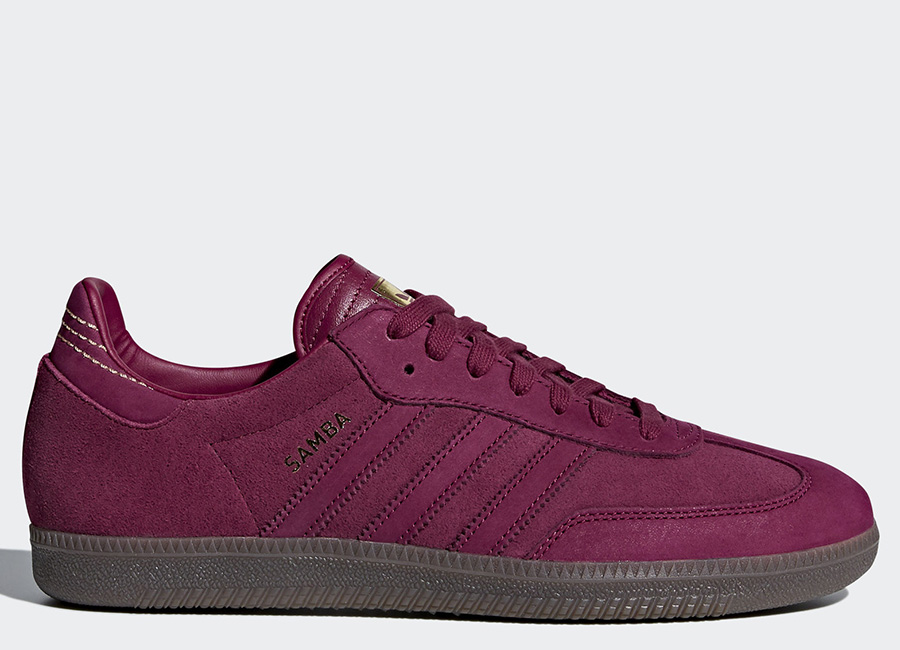 Adidas Samba FB Shoes - Mystery Ruby / Mystery Ruby / Gold Metallic