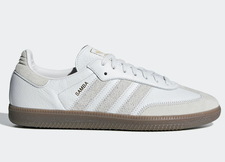 Adidas Samba OG FT Shoes - Crystal White / Raw White / Gold Met