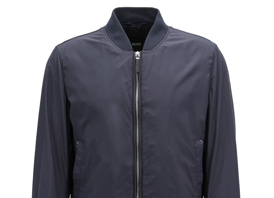Hugo Boss Packable Jacket In Micro-Structured Technical Fabric - Dark Blue