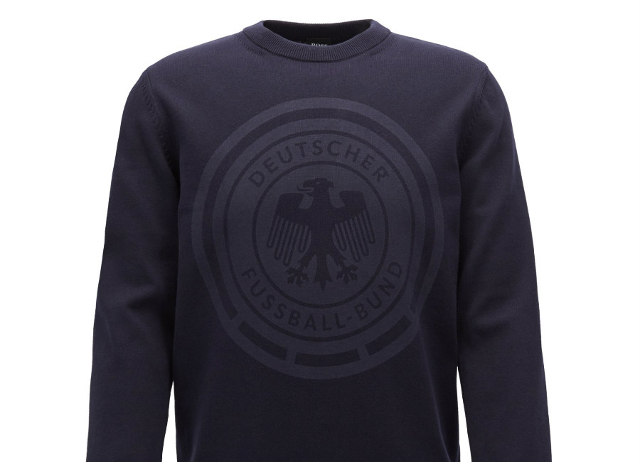 Hugo Boss Cotton Sweatshirt With Logo Print - Dark Blue