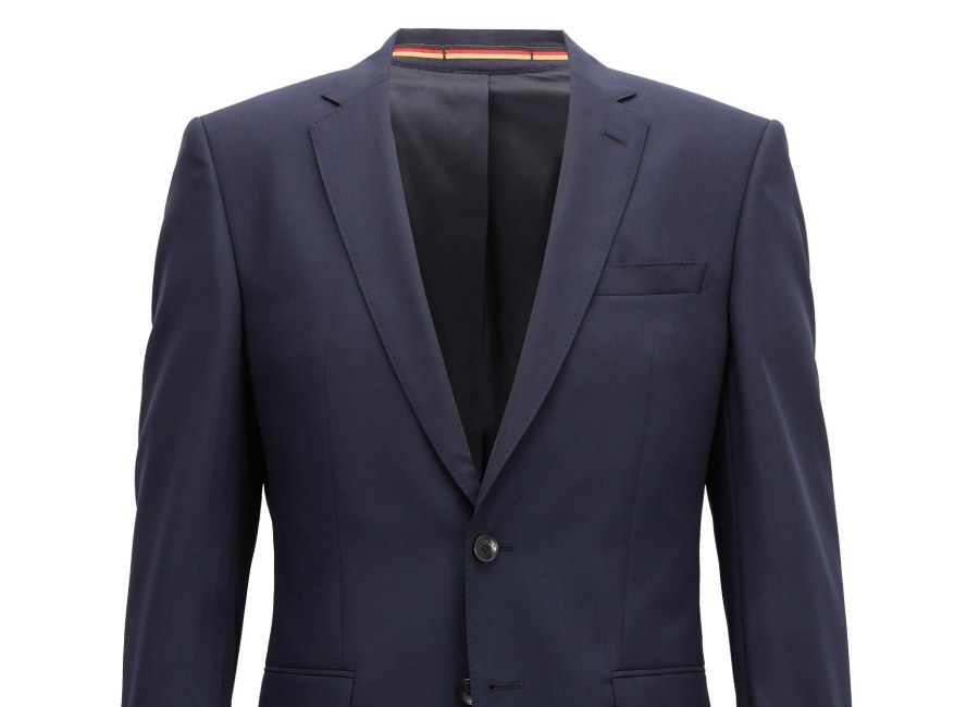 Hugo Boss Slim-Fit Blazer In Virgin Wool With Flag Detail - Dark Blue