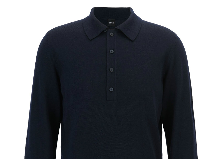 Hugo Boss Sweater In Virgin Wool With Polo Collar - Dark Blue