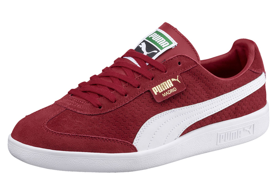 Puma Madrid Perforated Suede Trainers - Red Dahlia / Puma White / Gold