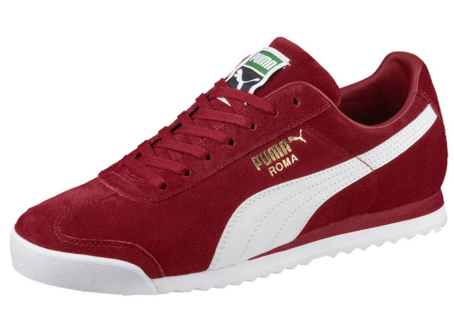 Puma Roma Suede Trainers - Red Dahlia / Puma White / Gold