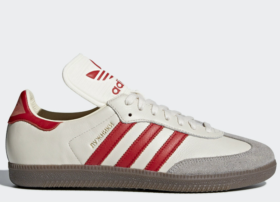 Adidas Samba Classic OG Shoes - Chalk White / Scarlet / Clear Granite