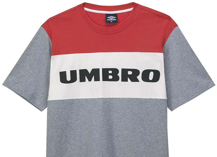 Umbro Block Chest Logo Tee - Grey Marl / White / Red