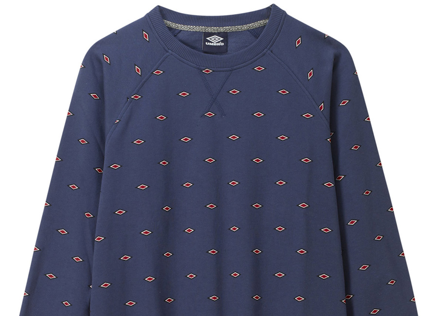 Umbro Small Logo AOP Crew - Navy