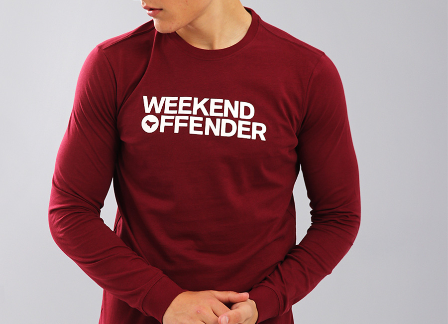 Weekend Offender Oscar Long Sleeve T-Shirt - Garnet