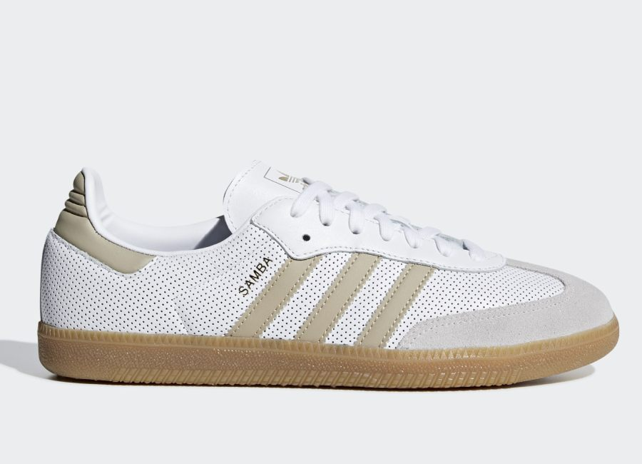 Adidas Samba OG Shoes - Ftwr White / Raw Gold / Grey One