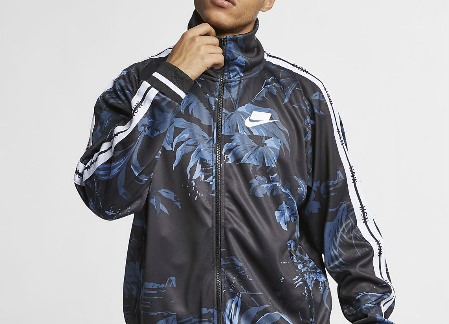 Nike NSW 'Palm Tree' Foldable Collar Track Jacket - Black / Dark Obsidian / White