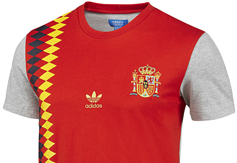 Taking inspiration from past la Roja kits, the Adidas Spain Football Tee is an iconic piece of national pride.