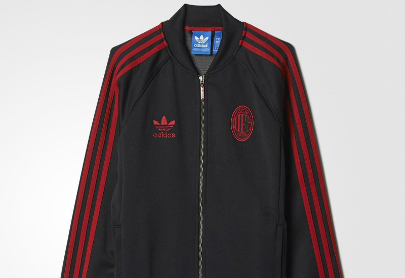 Adidas Ac Milan Superstar Track Jacket Black Victory Red