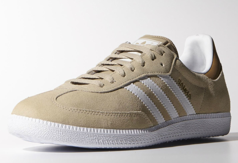 Adidas Samba Shoes St Stone Khaki Core White Gold Metallic
