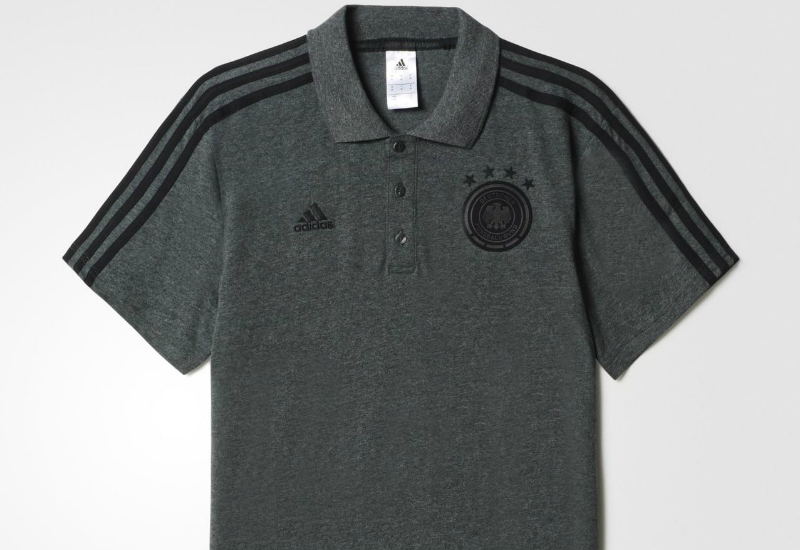 Adidas Uefa Euro 2016 Germany 3 Stripes Polo Shirt Dark Grey Heather Black