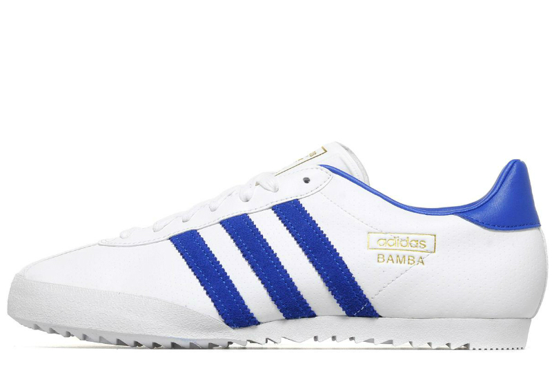 Adidas Bamba Shoes White Royal Blue Gold Met