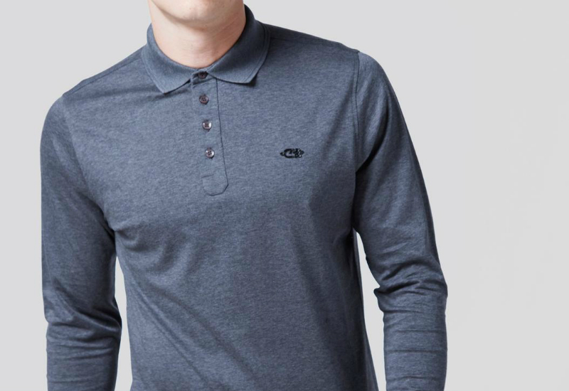 Cruyff Arjan Long Sleeve Polo Shirt Grey Marl