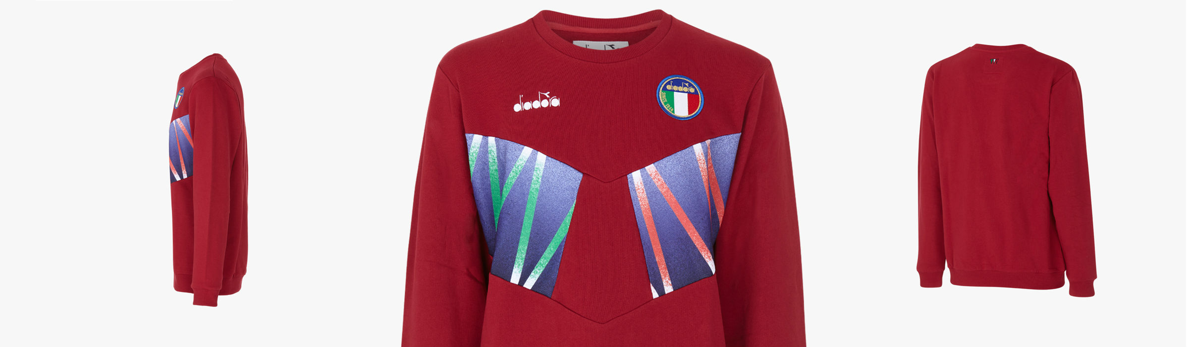 Diadora Rb94 Crew Sweat Blue Rosso Full