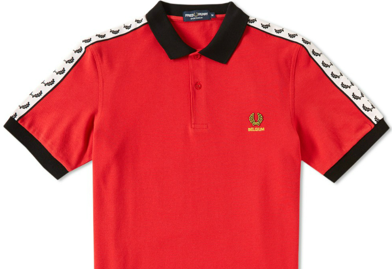 Fred Perry Belgium Tape Polo Shirt Red Black Vibrant Yellow