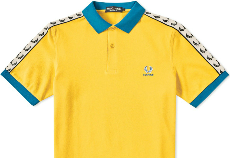 Fred Perry Sweden Tape Polo Shirt Yellow White Imperial