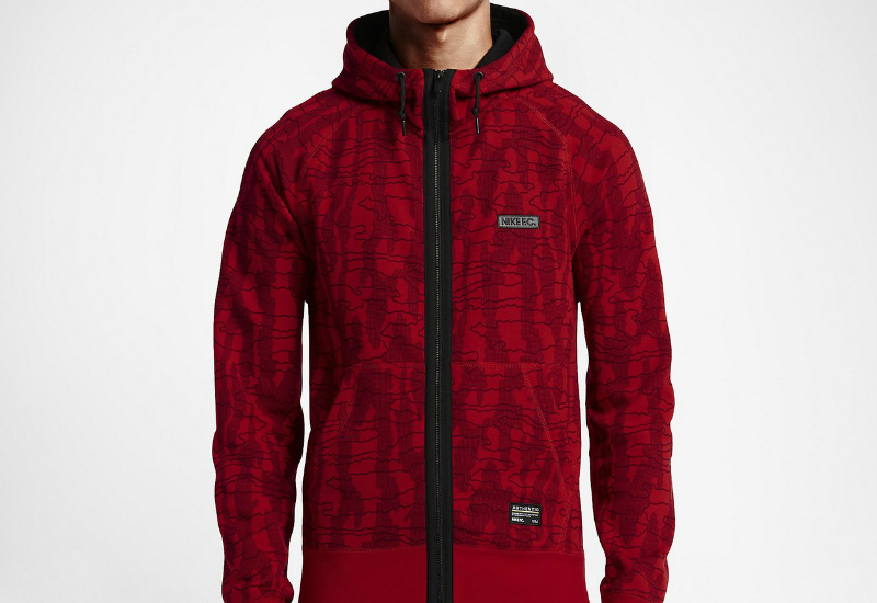 Nike Fc Aw77 Full Zip University Red Team Red