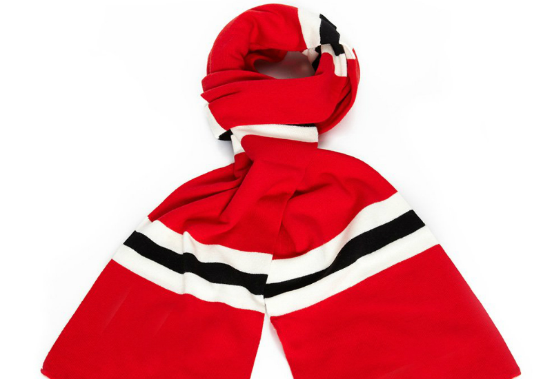 Savile Rogue Faithful Cotton Merino Football Scarf Red White Black