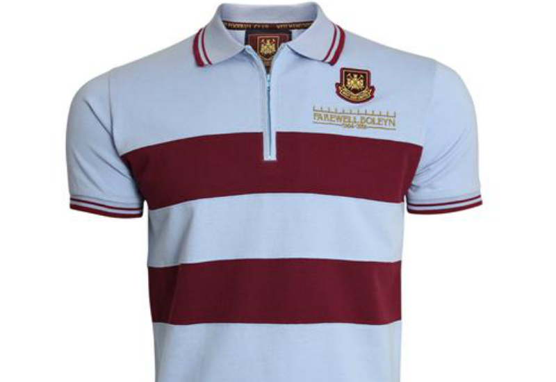 West Ham United Farewell Boleyn Retro Zip Polo Sky Blue
