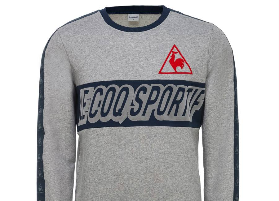 Le Coq Sportif Tricolore Football Crew Sweat - Heather Grey