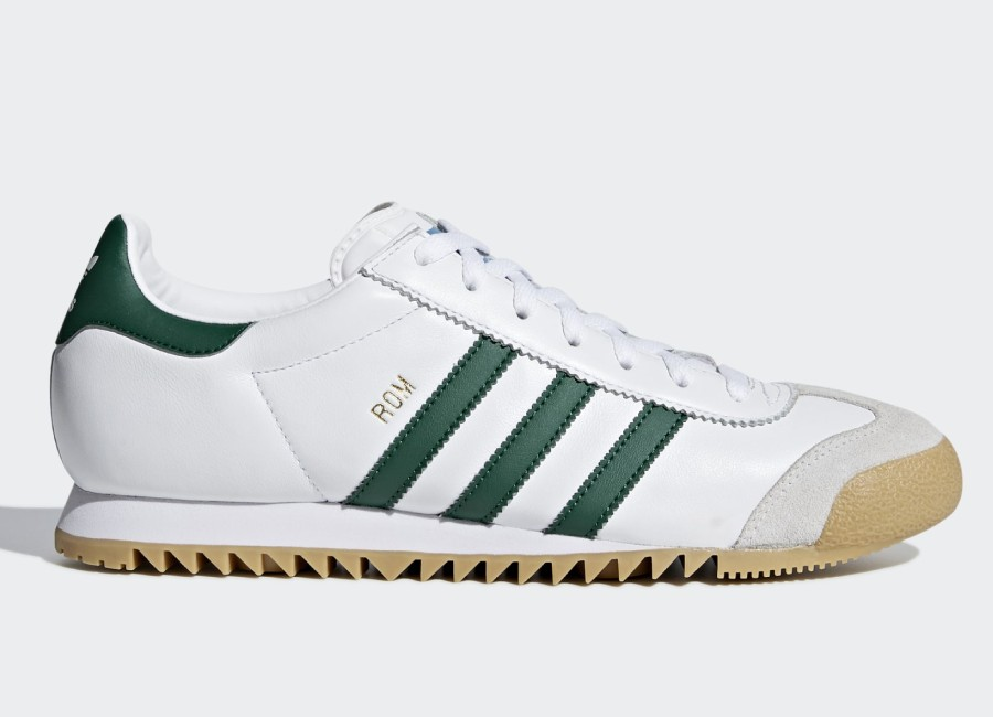 Adidas Rom Shoes - Ftwr White / Collegiate Green / Grey One