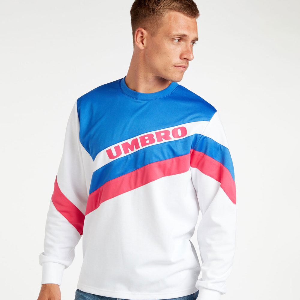 Umbro Sector Crew Sweat - Bright White / Dazzling Blue / Sorbet